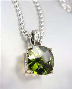 Designer Style Silver Gold BALINESE Olive Green CZ Crystal Pendant Necklace