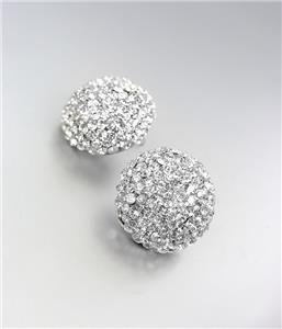 EXQUISITE SPARKLE Pave CZ Crystals Button Stud Earrings Prom Pageant Bridal