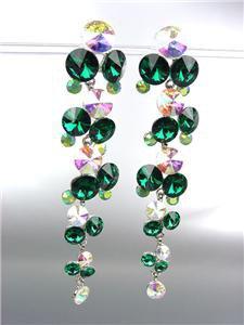 STUNNING Emerald Green Iridescent Czech Crystals WATERFALL Dangle Earrings
