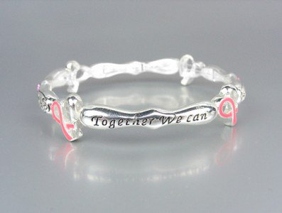 BREAST CANCER AWARENESS Pink Ribbon MAKE A DIFFERENCE Crystal Stackable Bracelet