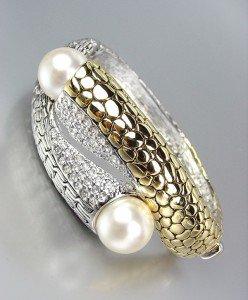 Designer Style Gold Kali Silver Weave CZ Crystals Creme Pearls Bangle Bracelet