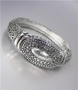 CLASSIC Designer Style Silver BALINESE Weave Cable Dots Hinged Bangle Bracelet