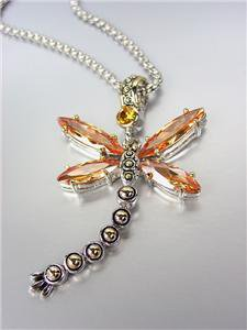 Designer Inspired Chunky Brown Topaz CZ Crystals Balinese Dragonfly Necklace