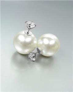 Urban Anthropologie Chunky Pearl CZ Crystal Stud Peek A Boo Double Side Earrings