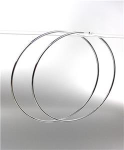"""CHIC Lightweight Silver Continuous INFINITY 4"""" Diameter Hoop Earrings 9881542"""