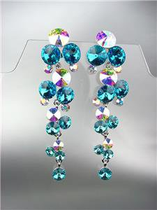 FAB Teal Blue Iridescent Czech Crystals WATERFALL Pageant Bridal Prom Earrings