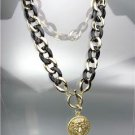 CHIC Designer Chunky Gold Metal Black Lucite Chain LEO LION Medallion Necklace
