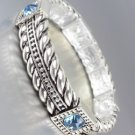 CLASSIC Brighton Bay Silver Cables Blue Topaz Crystals Stretch Bracelet
