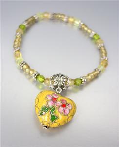 DECORATIVE Yellow Multi Cloisonne Enamel Heart Charm Beads Stretch Bracelet