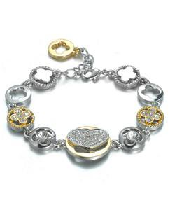 NEW Designer Style Silver Gold Heart Clover Clovers CZ Crystals Links Bracelet