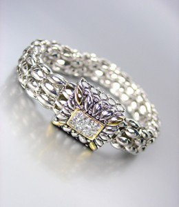 NEW Designer Inspired Silver Gold CZ Crystals Mesh Chain Magnetic Clasp Bracelet
