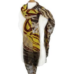 EXOTIC Lightweight Silky Mustard Yellow Brown Animal Print Fashion Scarf