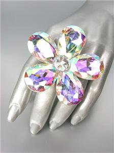 STUNNING Chunky Iridescent AB Czech Crystals Floral DIVA Queen Cocktail Ring