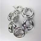 CLASSIC Designer Style Organic Silver Swirl Rings Toggle Ring Bracelet