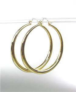 "CLASSIC Graduated GOLD Metal 1 3/4"" Round Hoop Pincatch Earrings"