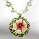 GORGEOUS Multicolor Lacquer Enamel Crystals Flower Natural Pearls Necklace Set