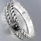CLASSIC Brighton Bay Silver Cables Black CZ Crystals Stretch Bracelet