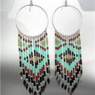 Turquoise Multi Beads Bohemian Boho Gypsy Peruvian Chandelier Dangle Earrings