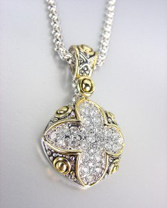 GORGEOUS Designer Style Silver Gold Balinese CZ Crystals Maltese Cross Necklace