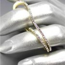 CHIC Urban Anthropologie Thin Curved Gold Metal CZ Crystals Double 2 Finger Ring