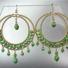 EXQUISITE Green Turquoise Peruvian Crystals Gold Chandelier Dangle Earrings GB63