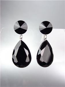 GLITZY SHIMMER Black Czech Crystals Bridal Queen Pageant Prom Earrings
