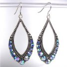 SPARKLE Antique Silver Metal CZ Blue Topaz AB Crystals Tear Drop Dangle Earrings
