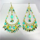 GORGEOUS Turquoise Topaz Crystals Peruvian Beads Gold Chandelier Dangle Earrings