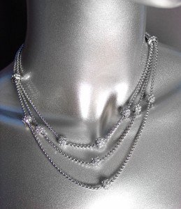 LUXURIOUS Designer Silver Box Chains Pave CZ Crystals Eternity Balls Necklace