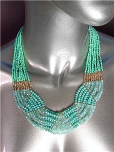 LUXURIOUS Urban Anthropologie Aqua Aventurine Labradorite Turquoise Necklace Set