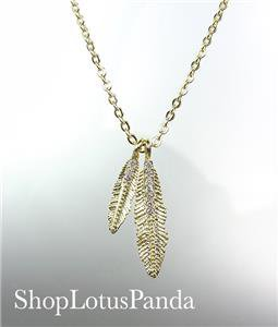 CHIC 18kt Gold Plated CZ Crystals LEAF LEAVES Pendant Petite Dainty Necklace