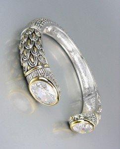 STUNNING Designer Inspired Clear Quartz CZ Crystals Balinese Cuff Bracelet