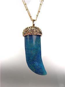 EXQUISITE Marble Blue Jade Azurite Marcasite Crystals Italian HORN Long Necklace