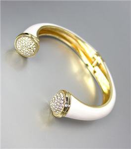 ELEGANT Gold Metal White Lacquer Enamel Pave CZ Crystals Hinged Cuff Bracelet