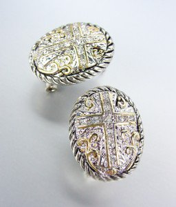 Designer Style Silver Cable Gold Filigree Crystals Cross Post Earrings
