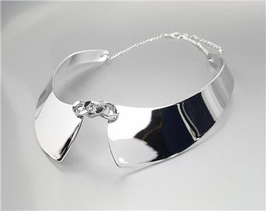 CHIC UNIQUE & STYLISH Silver Plated Faux Collar Chain Choker Necklace