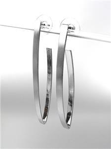 CHIC Thin Lightweight Mat Silver Metal Long Stick Dangle Post Earrings