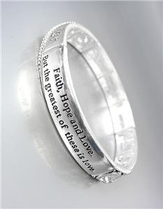 NEW Inspirational FAITH HOPE LOVE Silver Filigree CZ Crystals Stretch Bracelet