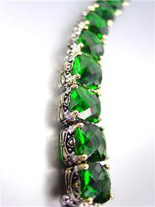 STUNNING Designer Style Silver Gold Balinese Emerald Green CZ Crystals Bracelet