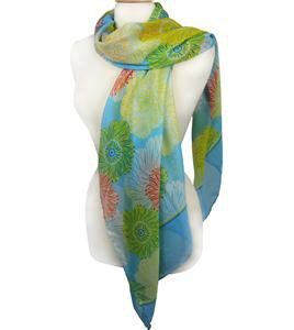 EXPRESSIVE Silky Lightweight Yellow Green Red Floral Blue Fashion Scarf