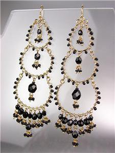 STUNNING Black Onyx Crystal Beads Gold Chandelier Dangle Peruvian Earrings