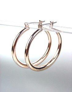 """CLASSIC Rose Gold Plated Metal 1 3/8"""" Diameter Round Hoop Earrings"""