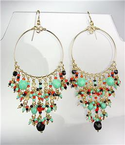 GORGEOUS Multicolor Crystals Peruvian Beads Gold Chandelier Dangle Earrings B30
