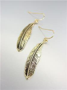 CHIC Ultra Lightweight Gold Feather Feathers Dangle Earrings