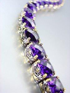 Designer Style Silver Gold Balinese Purple Amethyst CZ Crystals Links Bracelet