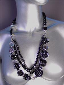 GLITZY Black Czech Crystals Pearls Beads Velvet Chain Necklace Set