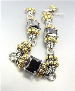 EXQUISITE Emerald-Cut Black Onyx CZ Glacier Crystals Gold Silver Caviar Bracelet