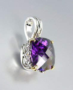 Designer Style Silver Gold Balinese Filigree Purple Amethyst CZ Crystal Pendant