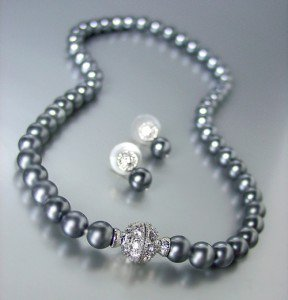 Designer Inspired Black Pearls Magnetic Eternity Pave CZ Crystals Necklace Set