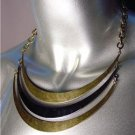 UNIQUE Antique Burnished Gold Hematite Metal Layered Drape Necklace Set